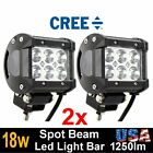2 pcs 18W LED Work Light Bar Driving Fog Spot Beam Lamp Off-road SUV ATV 4WD