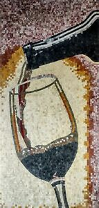 Red wine glass bottle marble mosaic handmade art tile, wall floor, personalized