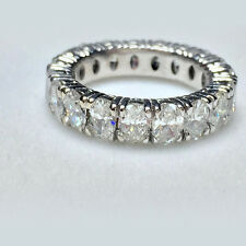 14K White Gold Eternity Band 5.26 Ct Solitaire Diamond Wedding Ring Sets Size 8