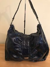 L.K. BENNETT Blue Snakeskin Print Leather Tote Bag + Wallet Good Used Condition