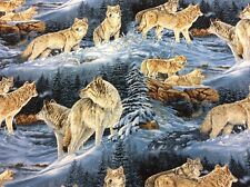 Springs Creative - Wild Wings CP32883 - Wolf Fabric - 100% Cotton