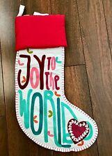 POTTERY BARN TEEN Joy to the World CHRISTMAS STOCKING Embroidered AQUA PINK NEW