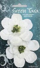 MAGNOLIA Mulberry Paper - WHITE 75mm across - 2 Pack FLOWER Green Tara
