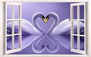 3D Window Effect on Canvas Purple Swan Love Heart Shape Calm Picture Art Print