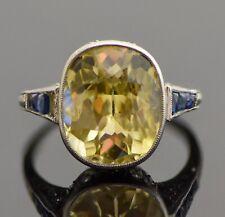 Art Deco Platinum Sapphire Diamond Antique Ladies Ring - 6.35 TCW Sz 6