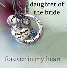 Daughter of the Bride Forever In My Heart Necklace w-Birthstone & Letter Charm