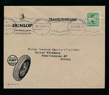 Svezia 1932 BUSTA PUBBLICITARIA DUNLOP pneumatici gomme... MACCHINA Annulla