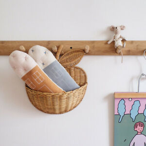 1PC  Handmade Rattan Wall Storage Basket Apple hanging Organizer Neatening DIY