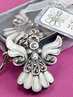 Angel silver, cream with stones keychain keyring religious prayer present gift