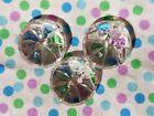 3 Antique Vintage Clear Cut Crystal Glass Flower Buttons Lot 19L