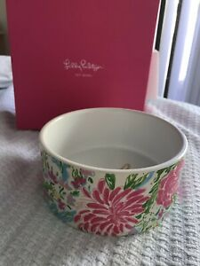 NIB Lilly Pulitzer  Pet Bowl Bunny Business Ceramic