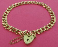 9CT GOLD SOLID FLAT D/C DOUBLE CURB LINK CHARM BRACELET HEART PADLOCK GIFT BOX