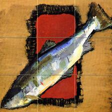 Russian Art 1934 Fish Ceramic Mural Backsplash Bath Tile #683