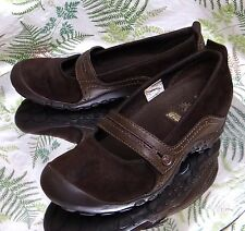 MERRELL PLAZA MARY JANES BROWN LEATHER LOAFERS SLIP ONS SLIDES SHOES WOMENS SZ 6