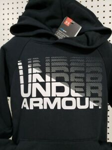 Boys Kids Youth UNDER ARMOUR Long Sleeve Pullover Hoodie NEW Black & White Small
