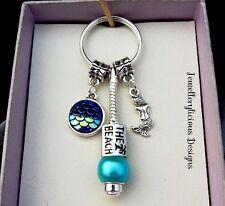 Beautiful Purple Blue Scale Mermaid The Beach Aqua Bead Keyring Key Ring