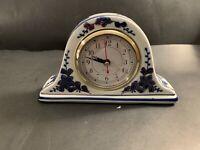 DESK CLOCK QUARTZ MOVEMENT BLUE, GOLD & WHITE FLORAL PATTERN CERAMIC PORCELAIN