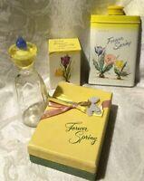 4-Pc.Vtg. Avon Forever Spring Lot: Perfume in Pop-up Box, Talc, Sachet, Bottle