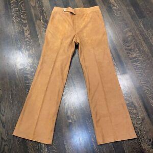 Vtg 60s 70s Pants Flare Leg Micro Suede Hippie Woodstock Disco Brown MENS 34 32
