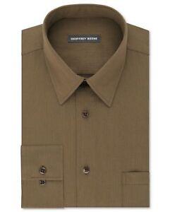 Nwt $95 Geoffrey Beene Men Regular-Fit Brown Wrinkle-Free Dress Shirt 16 32/33 L