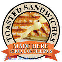 TOASTIES TOASTED SANDWICHES shop Sign Window sticker Cafe Restaurant decal