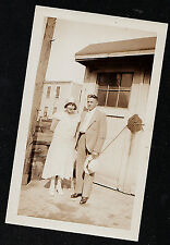 Vintage Antique Photograph Man Standing With Flapper Woman By Garage