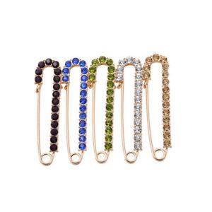 Gold Rhinestone Diamante Metal Kilt Safety Pin Scarf Shawl Brooch Fee Gift Pouch