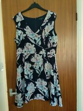 French Connection Blue Floral Print Fit & Flare Dress Size 16