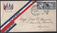 US 1929 AIR MAIL ALLIES FLAGS US UK CANADA FRANCE TO CAP JOSE D LAGUE CHICAGO TO