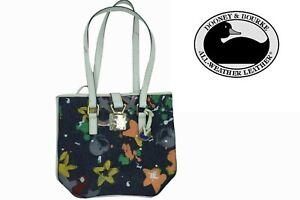 Dooney & Bourke Splash Blue Denim Tote, heart, star, Leather Trim Handbag Purse