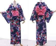 k-019 Azul Púrpura Rojo Rosas Mariposa ORIGINAL Japón kimono yukata OBI Cinturón