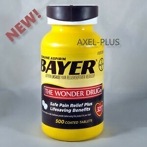 Bayer Genuine  Aspirin Pain Reliever 500 coated tablets 325mg  EXP 05/2023