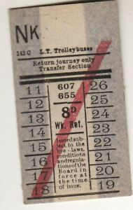 Bus/Tram ticket LT Trolleybuses 8d ret routes 607 655