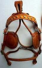 Tan spotted accents MINI/ PONY Driving Cart Black Leather Harness Parts-Bridle