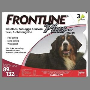 Frontline Plus Flea Treatment for Dogs 89-132lbs: 3 dose