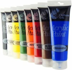 Chiltern Arts Acrylic 8 Tubes of Assorted Colour Paint Painting Tubes - 120ml