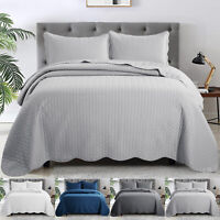 Modern Quilted Bedspread Bed Cover Throw Bedroom Bedding Set Single Double King