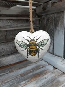 Shabby Chic Decoupage Wooden Hanging Heart Bee design