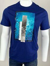 Armani Exchange Authentic Aqua Logo Regular Fit T Shirt Blue NWT
