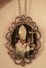 Handsome Open Silvertone Rhombus Pope Benedict XVI Mitered Pendant Necklace Pin