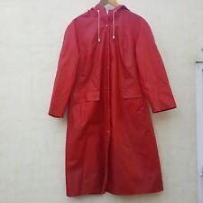 70s Red RUKKA PVC Coat long Mac Finland scandi raincoat oilskin rubber 42 14 16