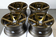 15x8 4x100 Bronze Effect Rims Fits Low Offset Miata Cabrio Jetta Golf Wheels