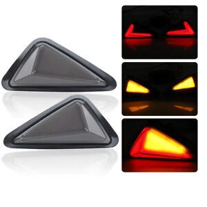 2X Flush Mount LED Turn Signal Indicator Daytime Running Brake Light Red Amber
