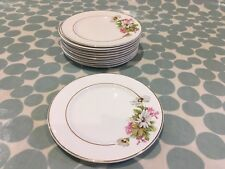 Vintage Alfred Meakin Side plates (Set of 11) - cream with wild flowers
