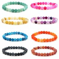 Colorful Fashion Woman 8MM Natural Wind Fossil  Agate 7 Chakras Beaded Bracelets