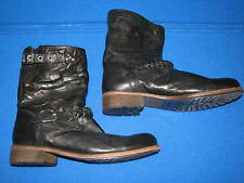 38 Latitude Femme Black Leather Ladies Shoes Fur Lined Boots Womens 7 7.5 Flats