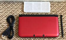* Nintendo 3DS XL * ROJO/NEGRO portátil de consola con Stylus & Cable De Carga Usb