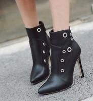 Womens Rivet Pointed Toe Zipper Side High Heels Stilettos Ankle Boots Shoes