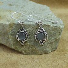 New 925 Sterling Silver & Graphite Chalcedony Cat's Eye Drop Earrings