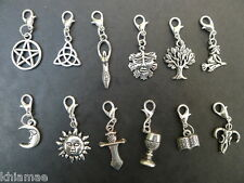 12 x Clip On Wiccan Bracelet Charms pentacle athame chalice witch pagan silver